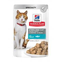 Hill's Science Plan Sterilised Young Cat Trout guliašas su upėtakiu sterilizuotoms katėms