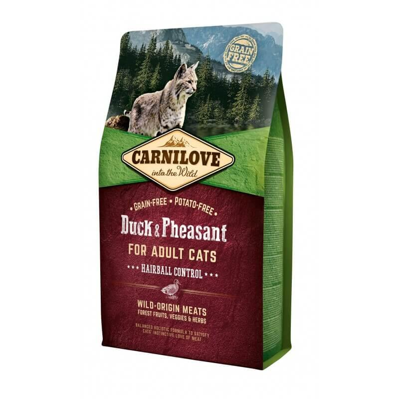 Carni Love Duck & Pheasant Adult Cat Hairball Control sausas