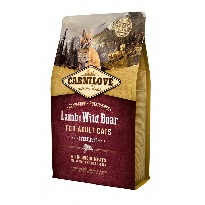 Carni Love Lamb & Wild Boar Adult Cat Sterilised sausas maistas