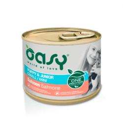 Oasy Puppy Mini Salmon vieno baltymo konservai su lašiša mažų veislių šuniukams