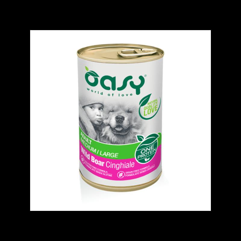Oasy Adult Medium & Large Wild Boar vieno baltymo konservai su šerniena šunims
