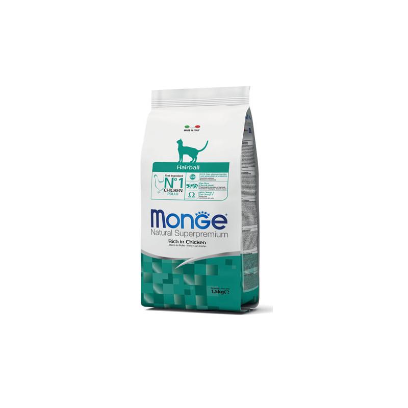 Monge Hairball Rich in Chicken sausas maistas katėms 1,5 kg