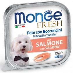 Monge Fresh paštetas su lašišos gabaliukais šunims