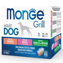Monge Grill Multipack konservų rinkinys su ėriena, kiauliena ir lašiša šunims