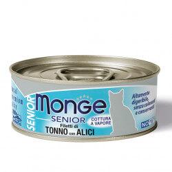 Monge Jelly Senior konservai su tunu ir ančiuviais vyresnio amžiaus katėms