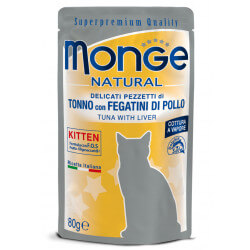 Monge Natural Pouches Kitten konservai su tunu ir vištienos kepenimis kačiukams