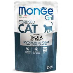 Monge Grill Cat Pouches konservai su upėtakiu sterilizuotoms katėms