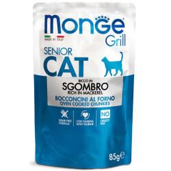Monge Grill Cat Pouches konservai su skumbre vyresnio amžiaus katėms