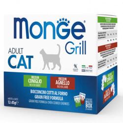 Monge Grill Multipack konservų rinkinys su triušiena ir ėriena katėms
