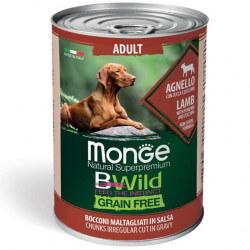 Monge BWild Adult begrūdžiai konservai su ėriena, moliūgais ir cukunijomis šunims