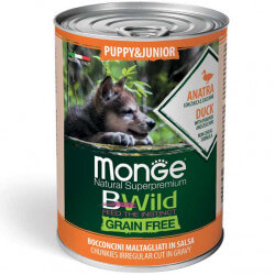 Monge BWild Puppy & Junior begrūdžiai konservai su antiena, moliūgais ir cukunijomis šuniukams
