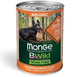 Monge BWild Mini Adult begrūdžiai konservai su antiena, moliūgais ir cukunijomis šunims