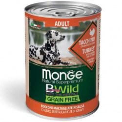 Monge BWild Adult begrūdžiai konservai su kalakutiena, moliūgais ir cukunijomis šunims