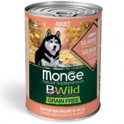 Monge BWild Mini Adult begrūdžiai konservai su lašiša, moliūgais ir cukunijomis šunims
