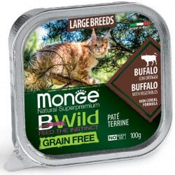 Monge BWild All Large Breeds paštetas su buivoliena ir daržovėmis katėms