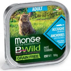 Monge BWild Adult paštetas su ančiuviais ir daržovėmis katėms