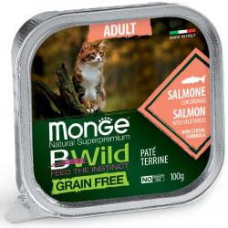 Monge BWild Adult paštetas su lašiša ir daržovėmis katėms
