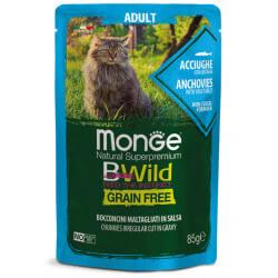 Monge BWild Adult konservai su ančiuviais ir daržovėmis katėms