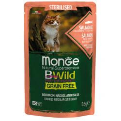 Monge BWild Sterilised konservai su lašiša, krevetėmis ir daržovėmis sterilizuotoms katėms