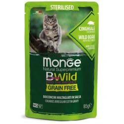 Monge BWild Sterilised konservai su šerniena ir daržovėmis sterilizuotoms katėms