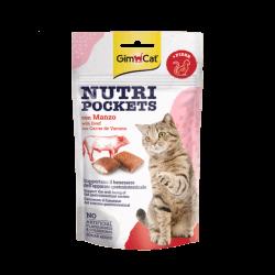 GimCat Nutri Pockets with Beef & Malt skanėstai katėms