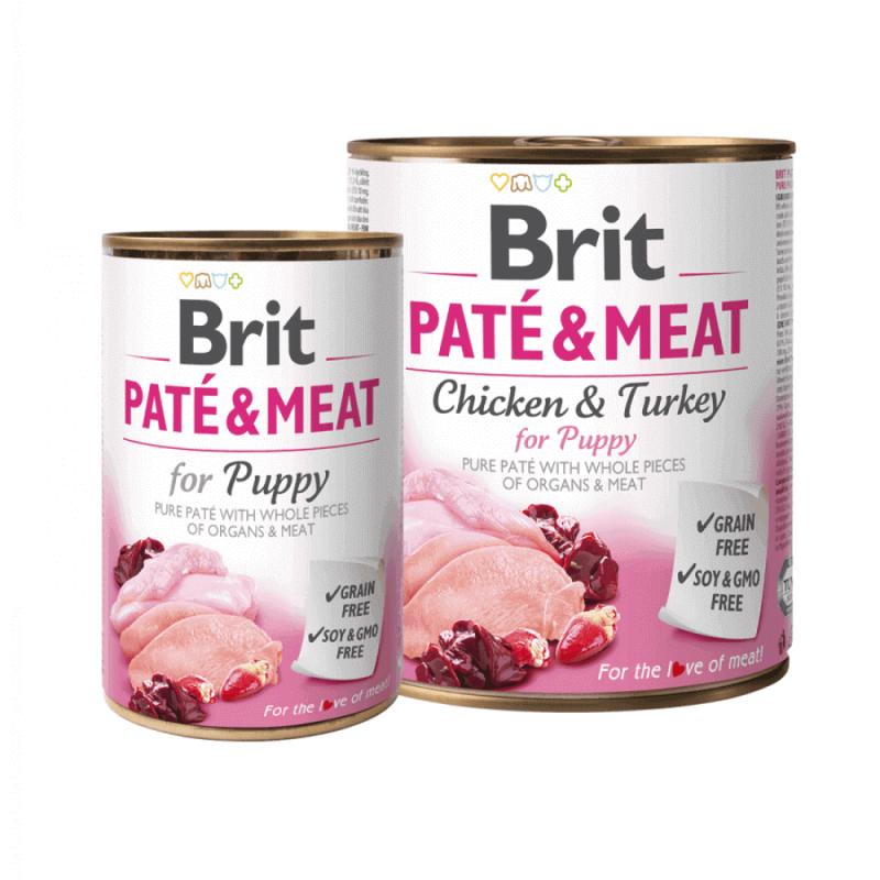 Brit Care Chicken & Turkey Pate & Meat konservai šuniukams
