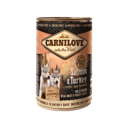 Carnilove Wild Meat Salmon & Turkey for Puppies konservai šuniukams