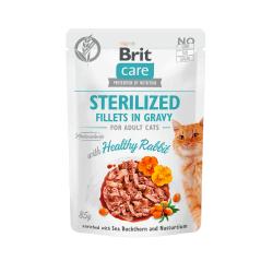 Brit Care Cat Sterilized Fillets in Gravy Healthy Rabbit konservai su triušiena sterilizuotoms katėms