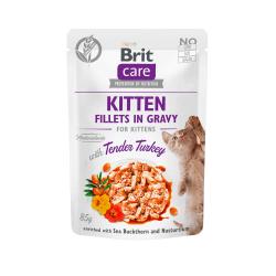 Brit Care Kitten Fillets in Gravy Turkey konservai su kalakutiena kačiukams