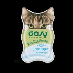 Oasy Delicatesse paštetas su žuvimi ir jogurtu suaugusioms katėms