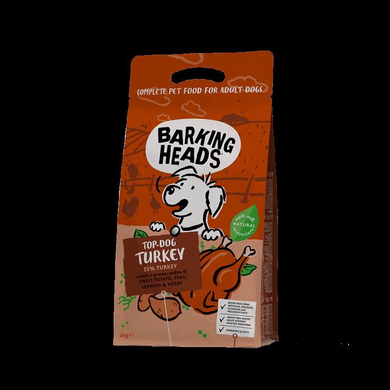 Barking Heads Top Dog Turkey sausas maistas su kalakutiena šunims 2 kg