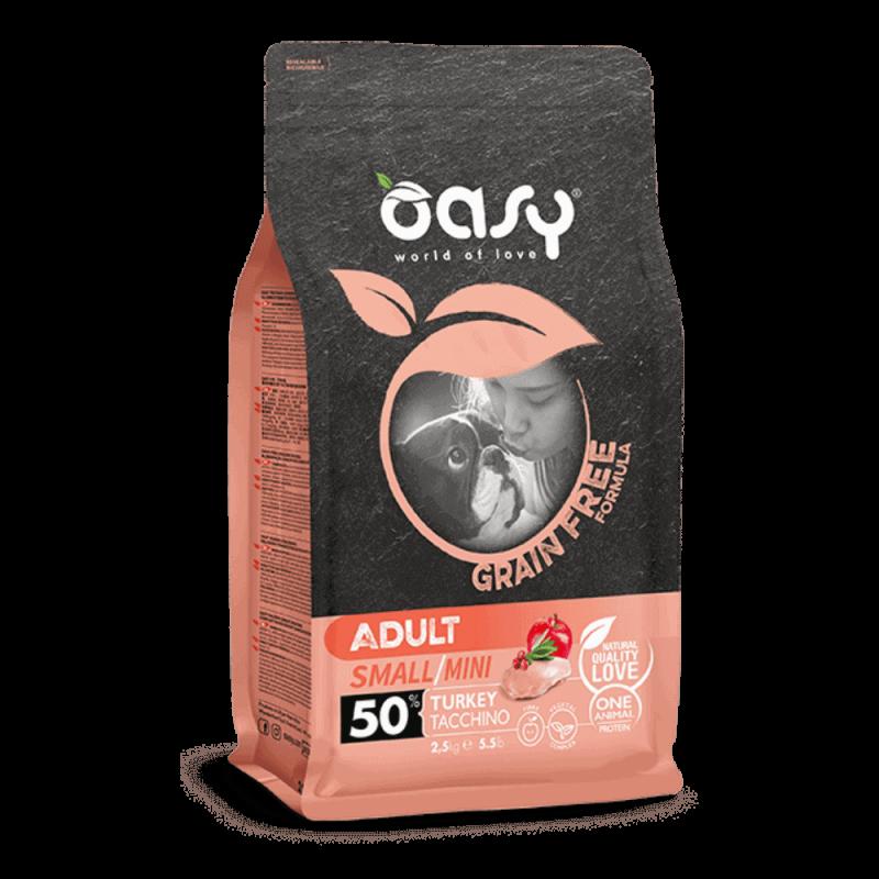 Oasy Grain Free Adult Mini Turkey begrūdis sausas maistas su kalakutiena šunims