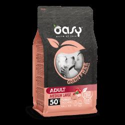 Oasy Grain Free Adult Medium & Large Turkey begrūdis sausas maistas su kalakutiena šunims