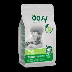 Oasy Adult Cat Sterilized Turkey sausas maistas su kalakutiena sterilizuotoms katėms