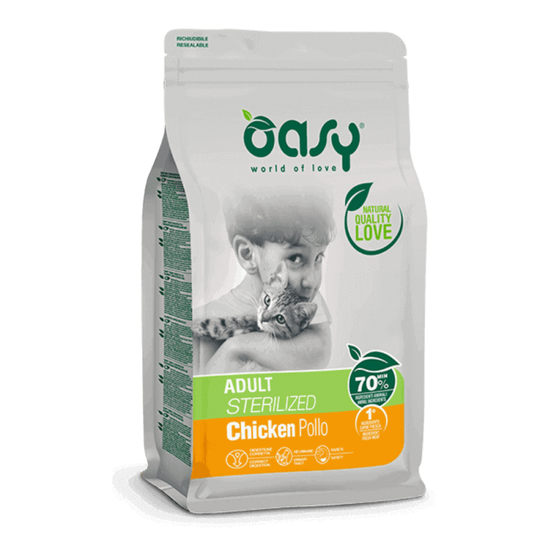 Oasy Adult Cat Sterilized Chicken sausas maistas su vištiena sterilizuotoms katėms