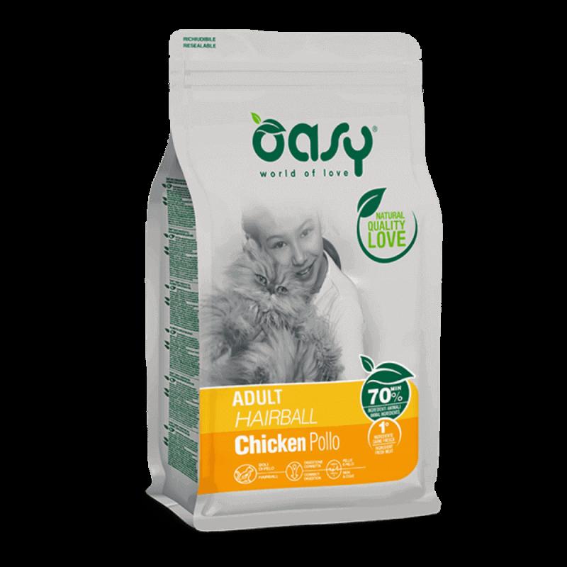 Oasy Adult Cat Hairball sausas maistas su vištiena katėms