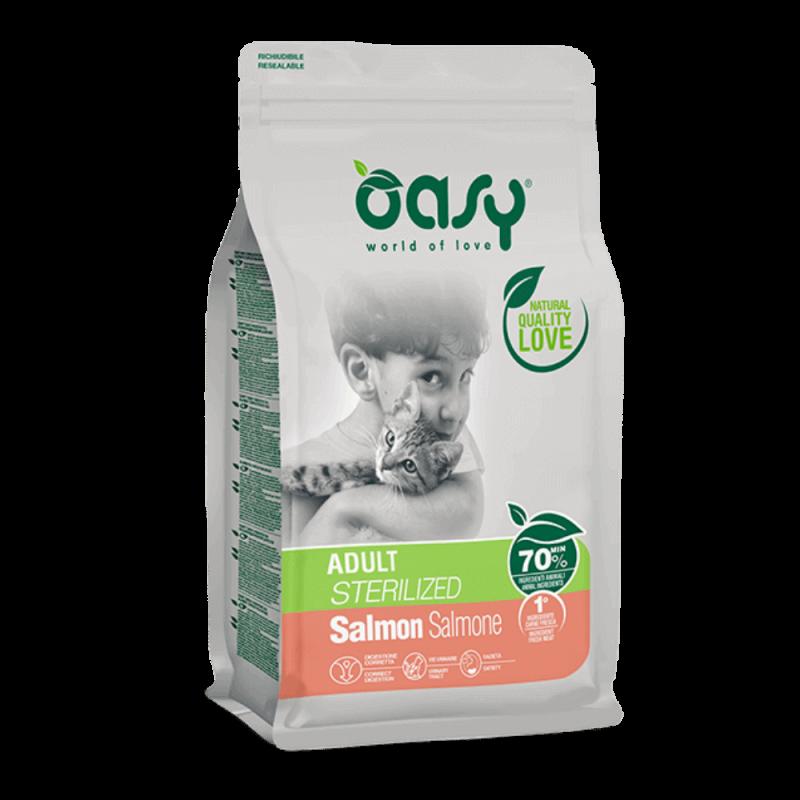 Oasy Adult Cat Sterilized Salmon sausas maistas su lašiša sterilizuotoms katėms