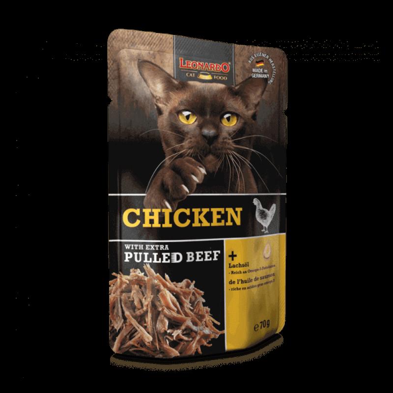 Leonardo Pulled Beef konservai su vištiena ir plėšyta jautiena katėms
