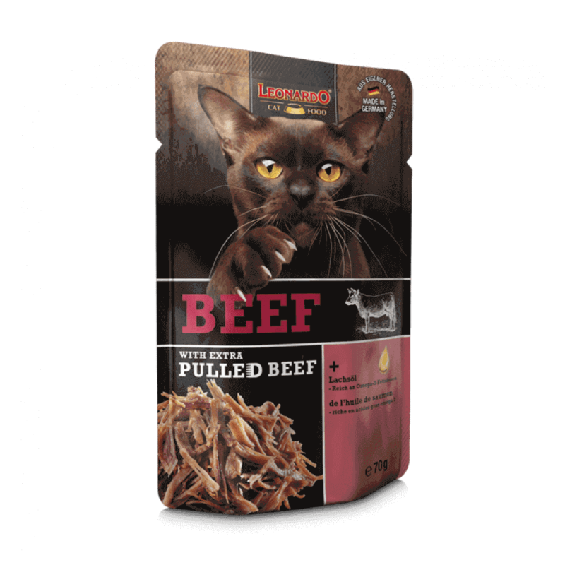 Leonardo Pulled Beef konservai su jautiena ir plėšyta jautiena katėms