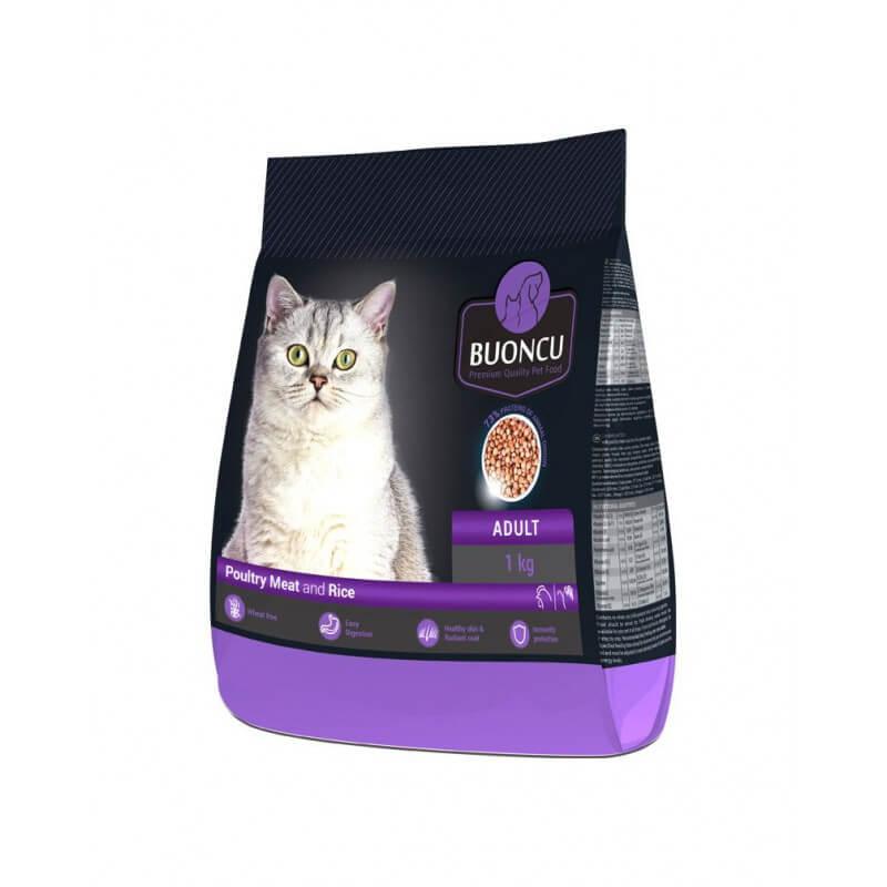 BUONCU Adult poultry meat & rice sausas maistas katėms
