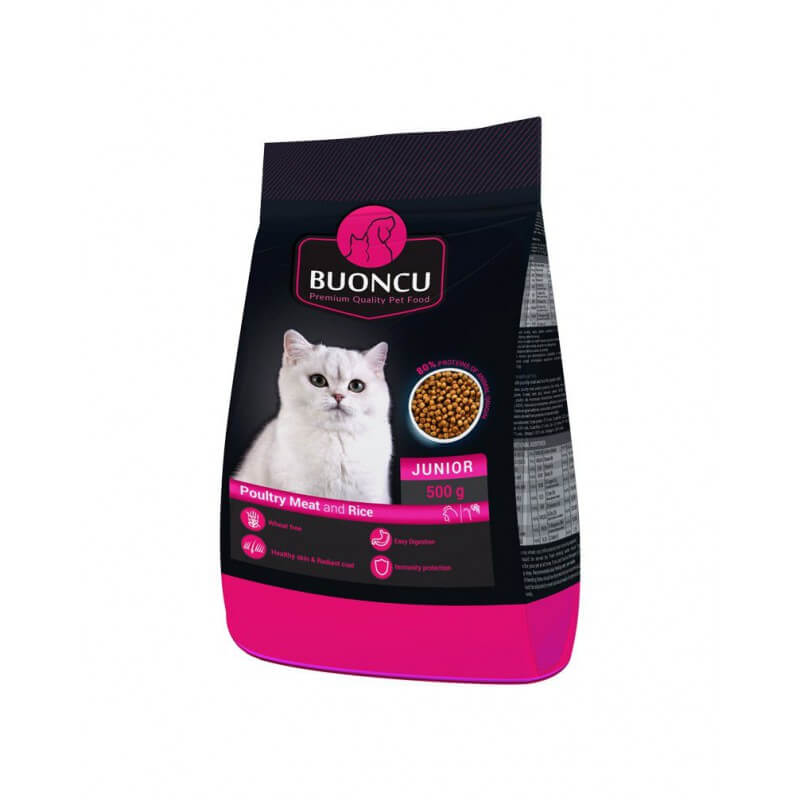 BUONCU Junior poultry meat & rice sausas maistas kačiukams