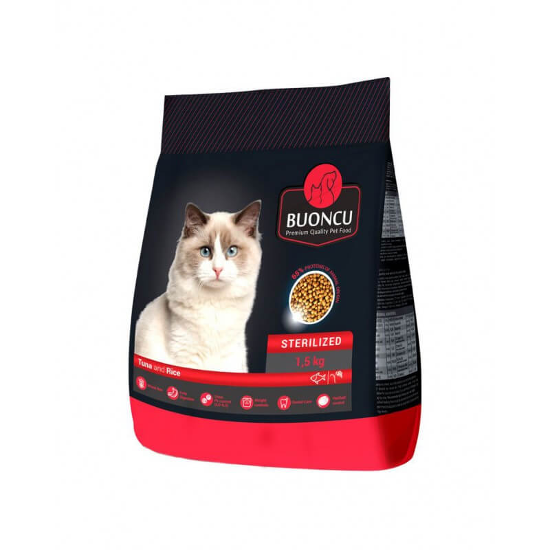 Buoncu sausas maistas su tunu ir ryžiais sterilizuotoms katėms