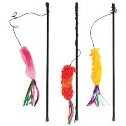 Flamingo ryškus, malonaus audinio žaislas ant pagaliuko katėms