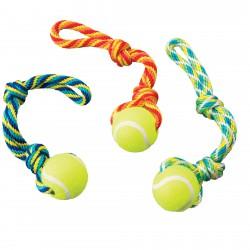 Ethical Products žaislas medžiaginis virvė su teniso kamuoliuku šunims