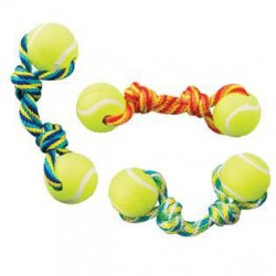 Ethical Products žaislas medžiaginis virvė su dviem teniso kamuoliukais šunims