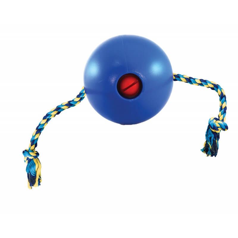 Ethical Products žaislas guminis kamuolys mėlynas su virve šunims
