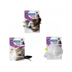 Ethical Products žaislas paukštis su plunksnomis ir varpeliu (su katžole) katėms