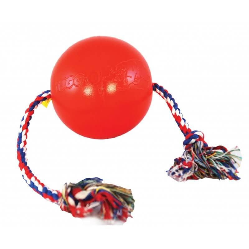 Ethical Products žaislas guminis kamuolys raudonas su virve šunims