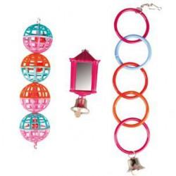 Flamingo žiedai, kamuoliukai žaislas paukščiams