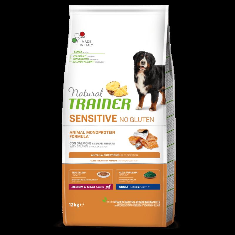 Natural Trainer Adult Medium & Maxi No Gluten sausas maistas su lašiša šunims